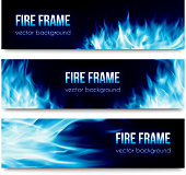 Abstract vector banners set with blue fire flames