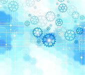 Abstract vector blue technology background.Blurry hexagons and blue gear.Background technology