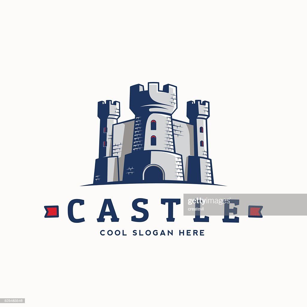 Abstract Vector Castle Label, Sign or Logo Template. Fortress Symbol
