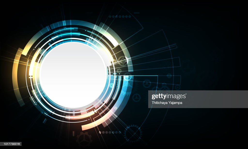 abstract vector circle technology design with gear.