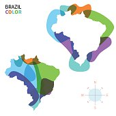 Abstract vector color map of Brazil with transparent paint effect.