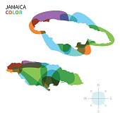 Abstract vector color map of Jamaica with transparent paint effect.