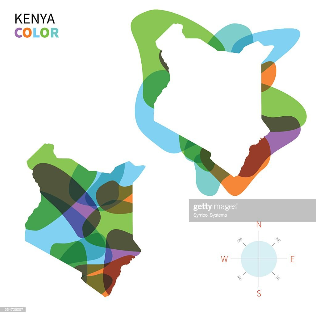Abstract vector color map of Kenya with transparent paint effect.