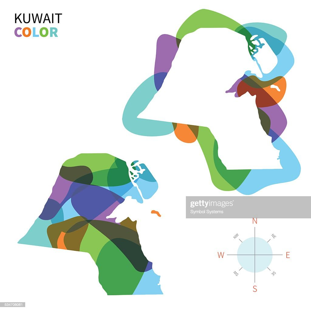Abstract vector color map of Kuwait with transparent paint effect.
