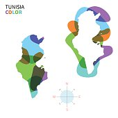 Abstract vector color map of Tunisia with transparent paint effect.