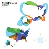 Abstract vector color map of United States with transparent paint