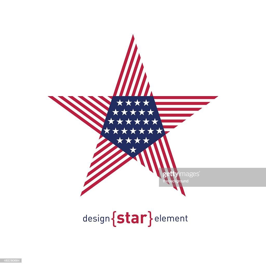 Abstract vector design element star with american flag
