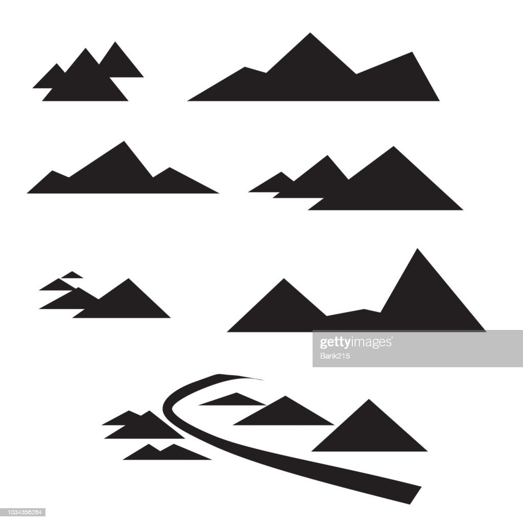 abstract vector design mountain path flat icon