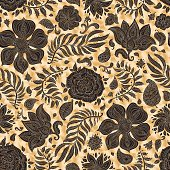 Abstract vector floral seamless pattern. Exotic Paisley elements, fantastic flower, leaves. Fairy foliage dark black silhouette on a gold colored spotted background. Textile bohemian print. Batik painting, wallpaper, wrapping paper, book cover, page fill