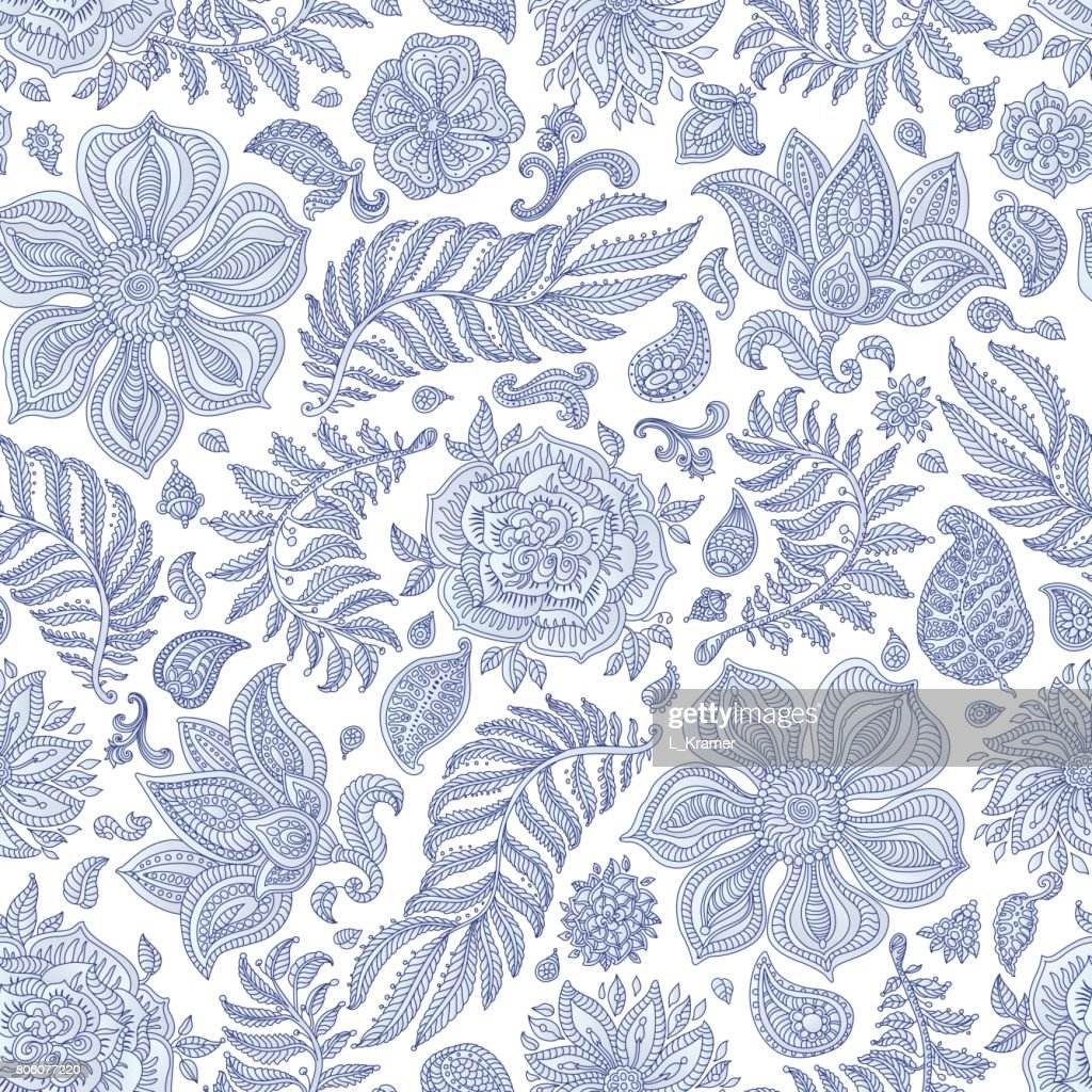Abstract vector floral seamless pattern. Exotic silver grey Paisley elements, fantastic flower, leaves. Dark  indigo blue thin contour line. Fairy foliage on a white background. Textile bohemian  print. Batik painting.Vintage