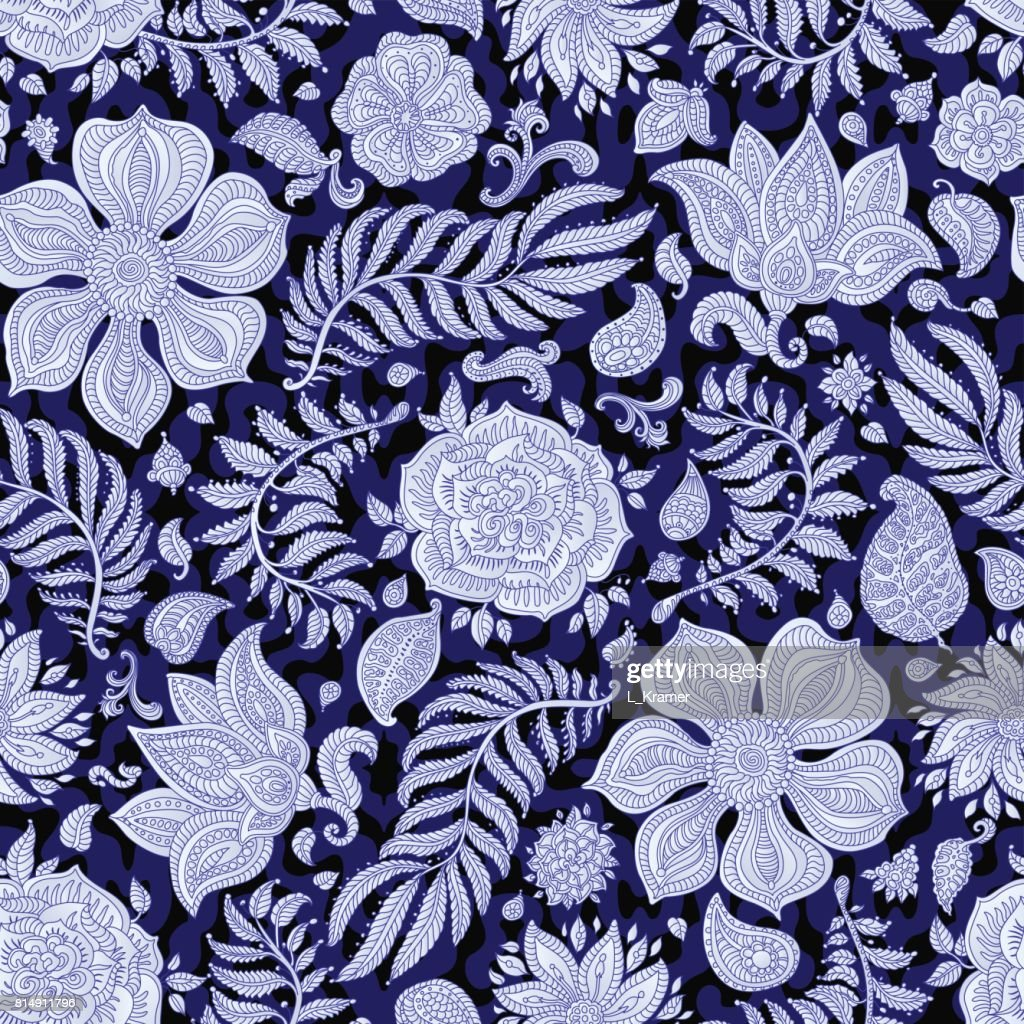 Abstract vector floral seamless pattern. Exotic silver grey Paisley elements, fantastic flower, leaves. Dark thin contour line. Fairy foliage on a dark indigo bluebackground. Textile bohemian  print. Batik painting.Vintage wallpaper, wrapping paper