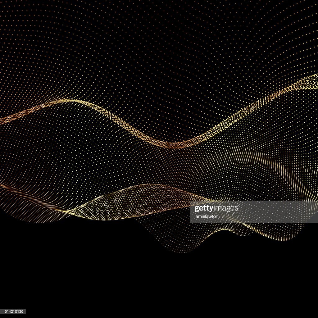 Abstract vector gold flowing dots background