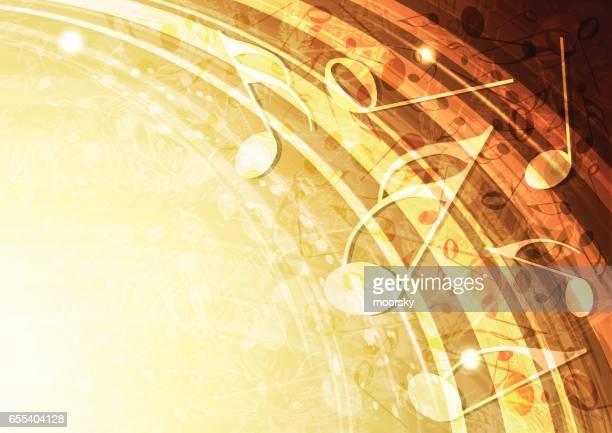 ilustrações, clipart, desenhos animados e ícones de ilustração de fundo música abstrata vector de ouro - nota musical