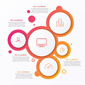 Abstract vector gradient minimalistic infographic template composed of 5 circles