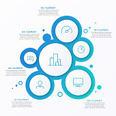 Abstract vector gradient minimalistic infographic template composed of 6 circles