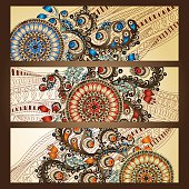 Abstract vector hand drawn ethnic pattern card set