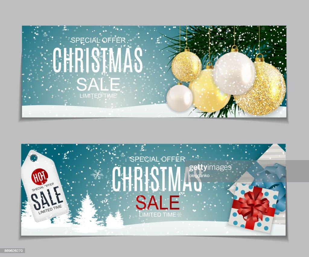 Vector Illustration Weihnachtsverkauf Sonderangebot Hintergrund Mit ...