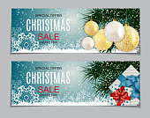 Abstract Vector Illustration Christmas Sale, Special Offer Background with Gift Box and Golden Ball. Winter Hot Discount Card Template