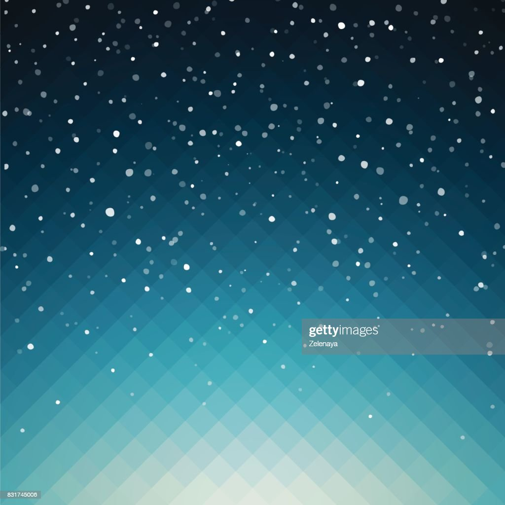 Abstract vector illustration in bright blue shades with fallen snowflakes effect. Snowy background for your Christmas design.