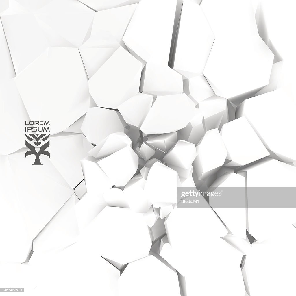 Abstract vector illustration of cracked white background