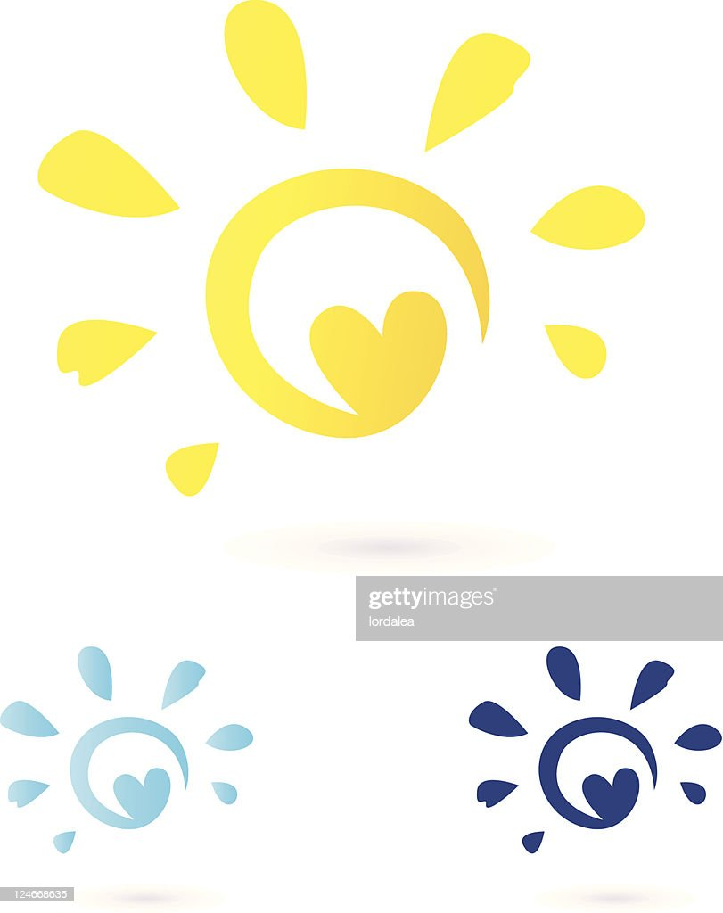 Abstract vector illustration of heart and the sun