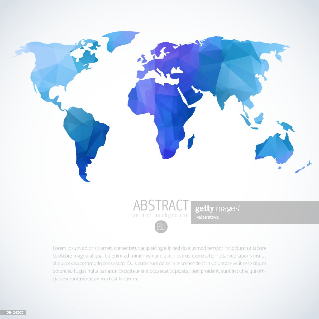 Abstract vector image of blue and purple world map