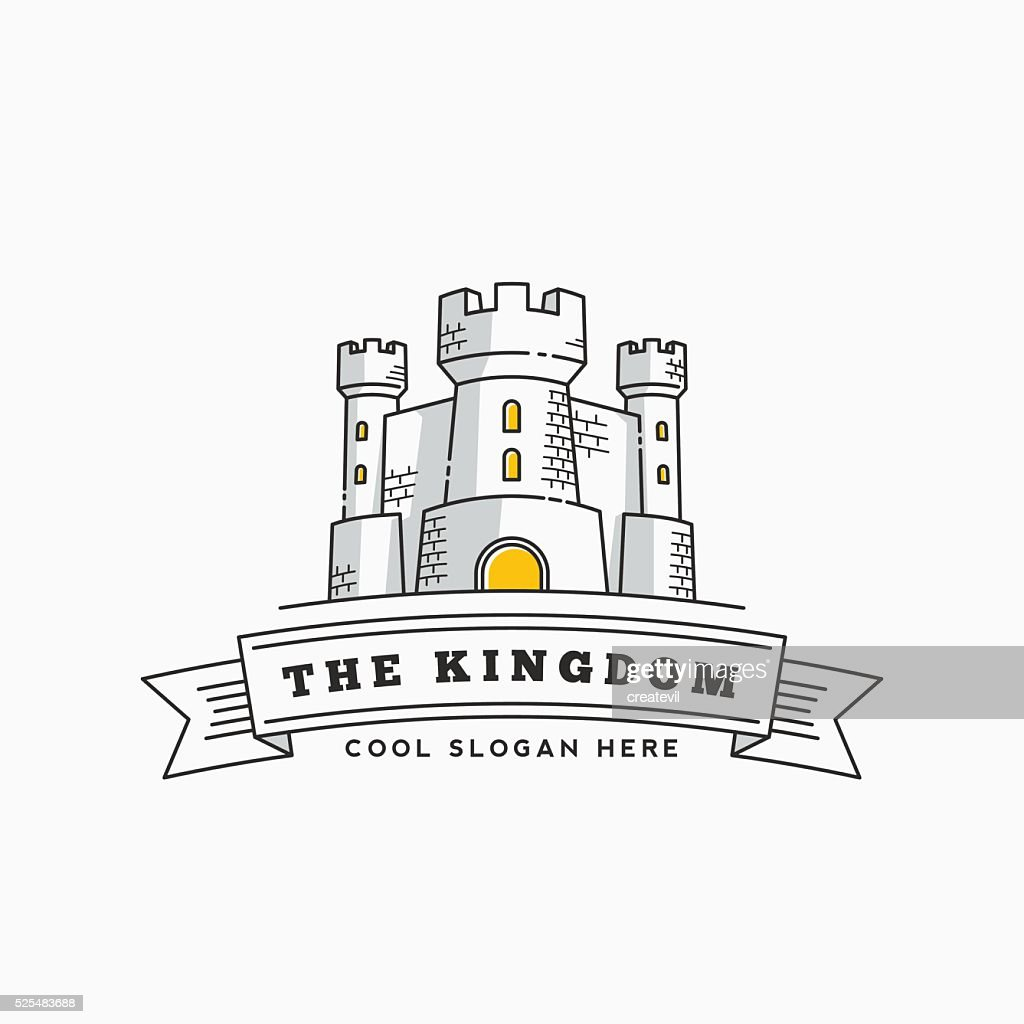 Abstract Vector Kingdom Label, Sign or Logo Template. Fortress Symbol
