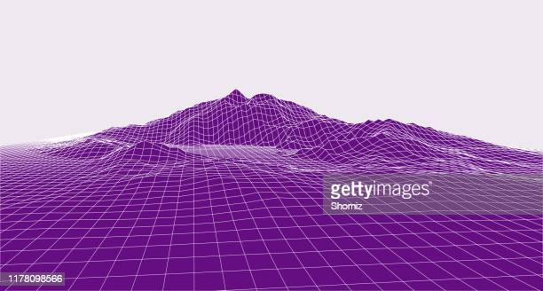 abstract vector landscape background. cyberspace grid. 3d technology vector - relief carving stock illustrations