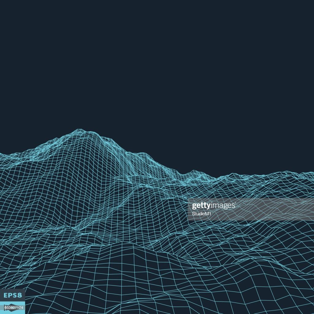 Abstract vector landscape background. Cyberspace grid.