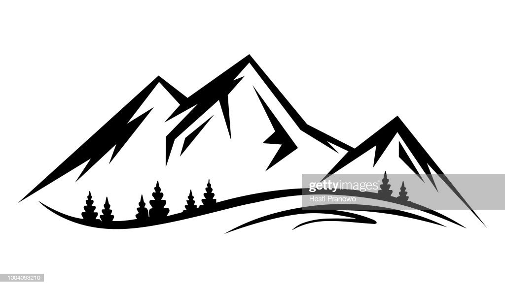 Abstract vector landscape nature or outdoor mountain view silhouette