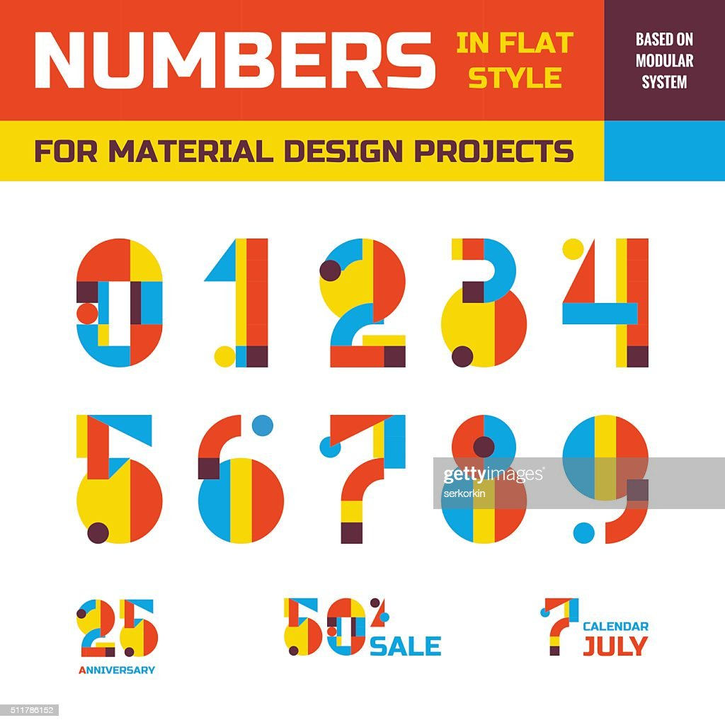 Abstract vector numbers in flat style design