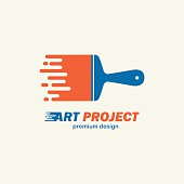 Abstract vector painting brush . Icon, emblem,  design .