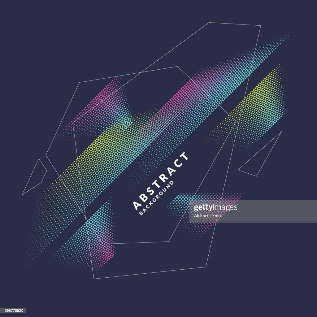 Abstract vector poster geometric objects, lines and bright points in a minimalist style
