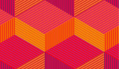 Abstract vector seamless moire pattern with cubic lattice lines. Colorful graphic ornament. Striped repeating texture