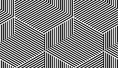 Abstract vector seamless moire pattern with cubic lattice lines. Monochrome graphic black and white ornament. Striped repeating texture