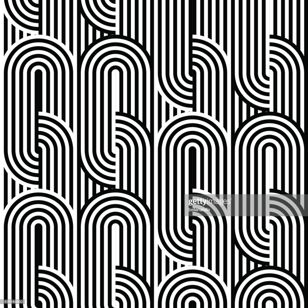 Abstract vector seamless op art pattern. Black and white ornament