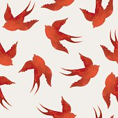 Abstract vector seamless with swallows