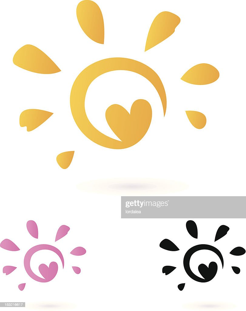 Abstract vector Sun icon with Heart isolated on white