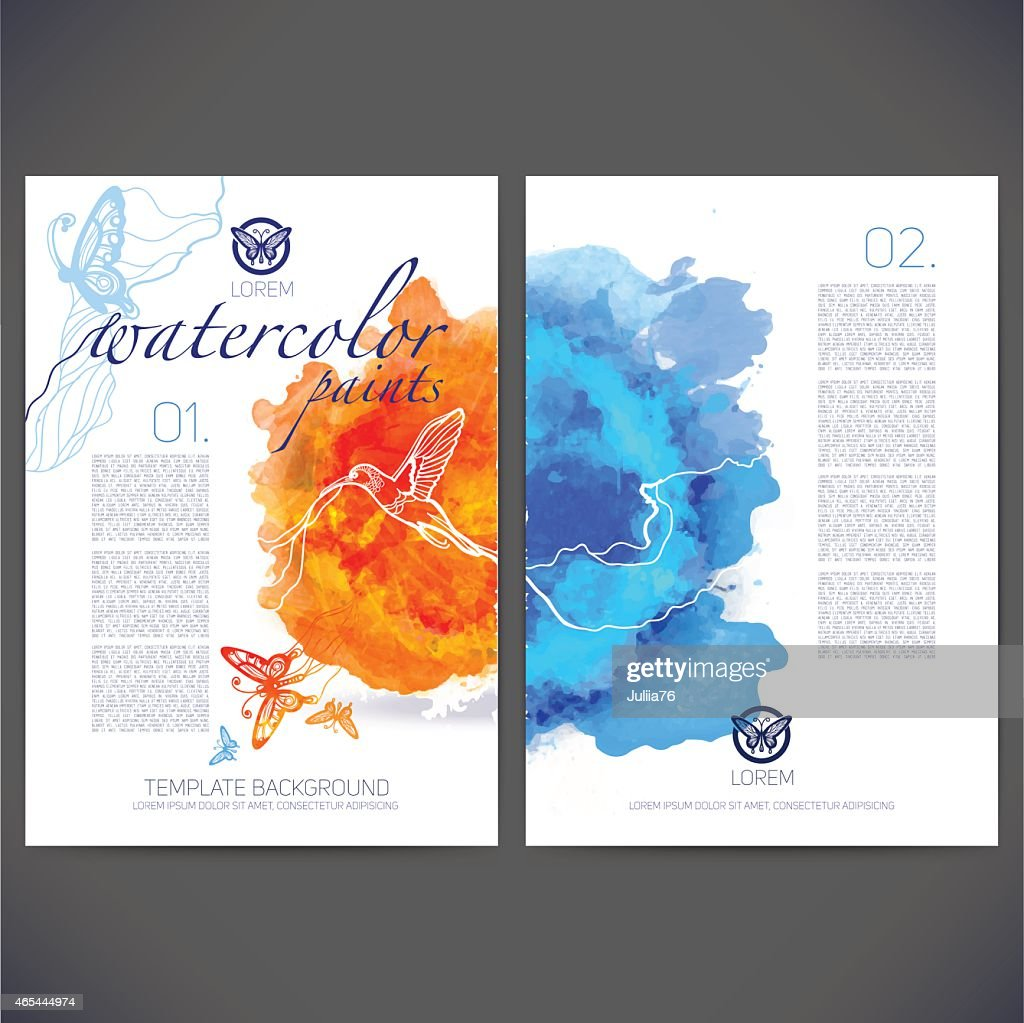 Abstract vector template design with colored butterflies and birds