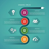 Abstract vector timeline infographic template in flat style