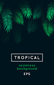 Abstract vector tropical decoration isolated on black. Green foliage border, jungle plants, irregular exotic leaves. Repeating rainforest background, seamless leaf pattern, decor.