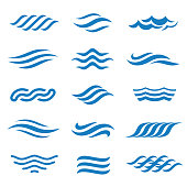 Abstract vector water icon set.