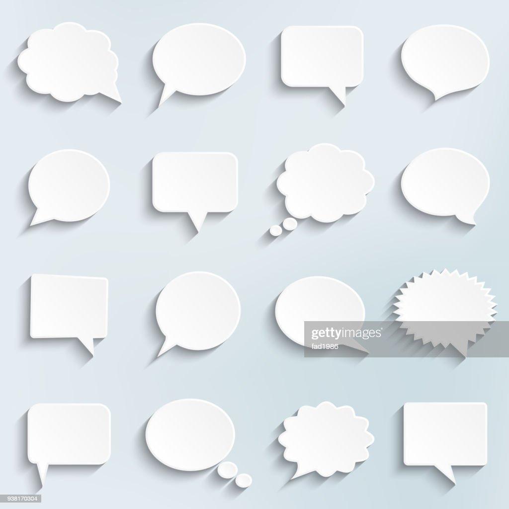 Abstract vector white speech bubbles set