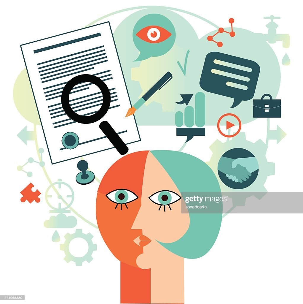 Abstract vector with icons representing signing a contract : stock illustration