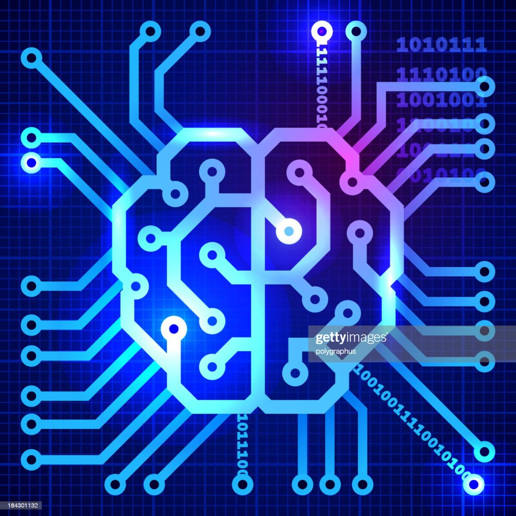 Abstract view of cyber brain in blue squares : Vector Art