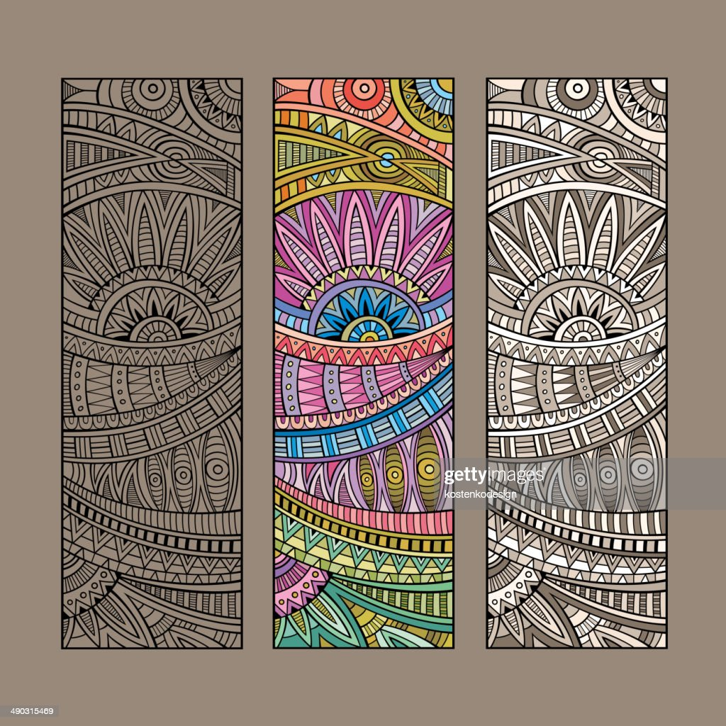 Abstract vintage ethnic card set.