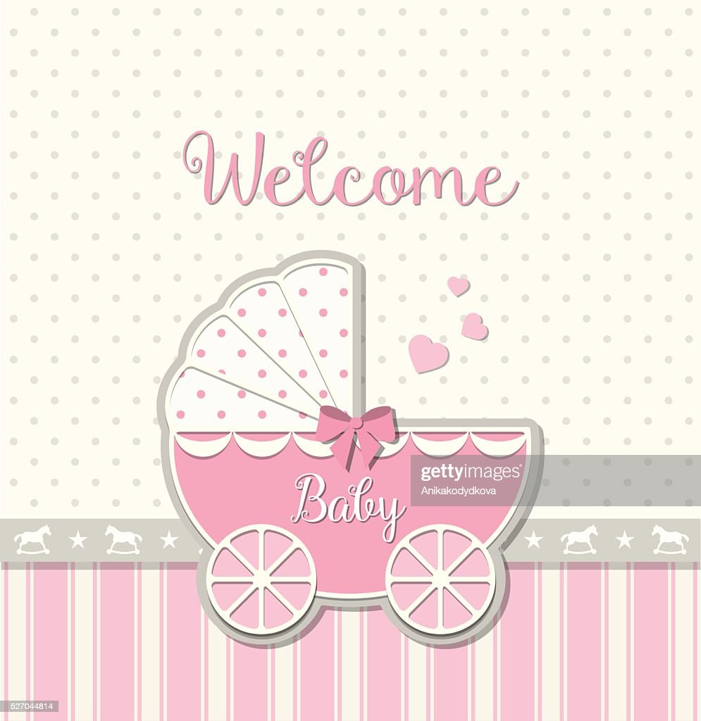 abstract vintage stroller, baby shower