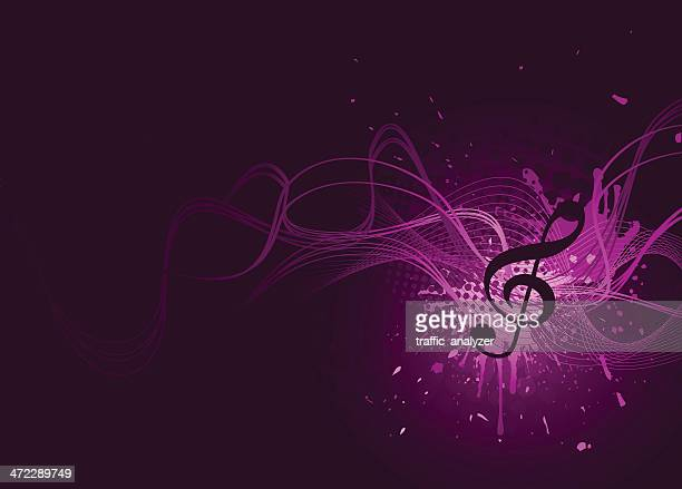 abstract violet music background - treble clef stock illustrations, clip art, cartoons, & icons