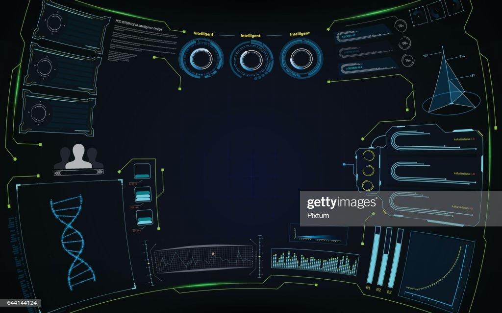 abstract virtual future smart screen interactive hud interface design concept