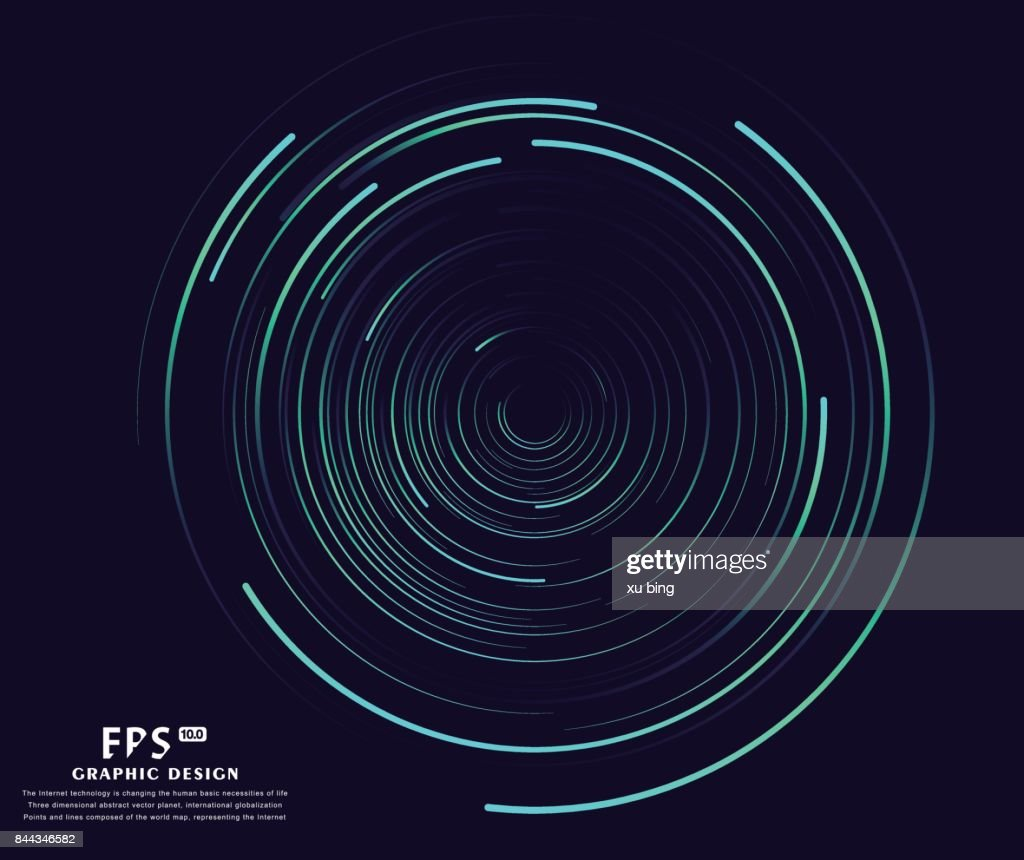 Abstract vortex, circular swirl lines. Star trails around in the night sky.